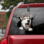 Siberian Husky Crack Car Sticker 03