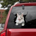 Maine Coon Cat Crack Car Sticker 07