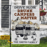 Personalized Camping Drunk Camper Matter Customized Flag