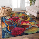 Butterfly Flower Premium Rectangle Rug