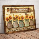 Mother's Day Personalized Canvas Print Sunflower Vase Thank you Mom You are my sunshine