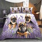 German Shepherd Purple Flower Bedding Set