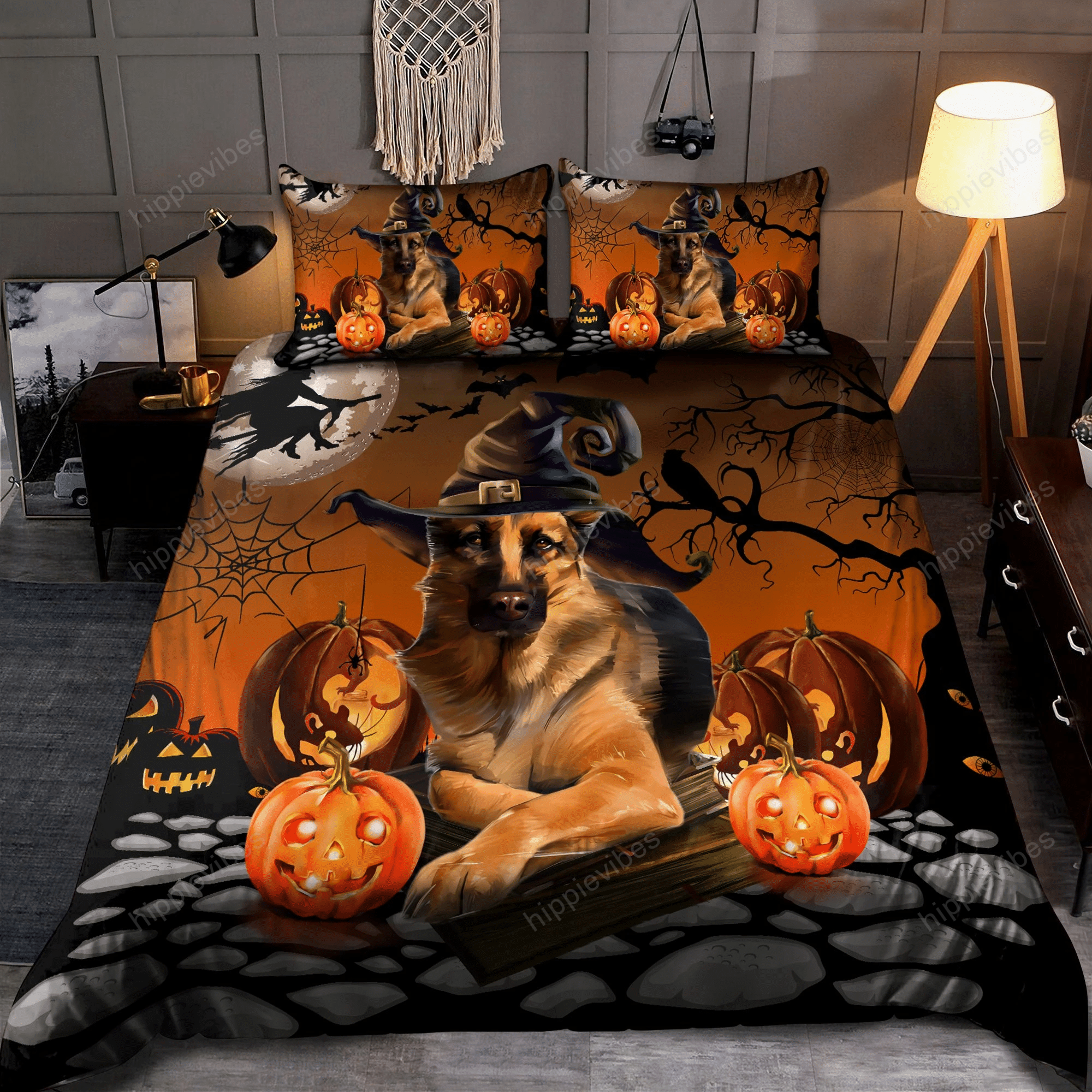 Halloween German Shepherd Bedding Set