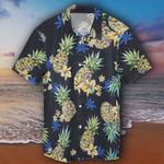 Pineapple Hawaiian Shirt Black Tropical Pineapple Hawaiian Button Up Shirt Apparel