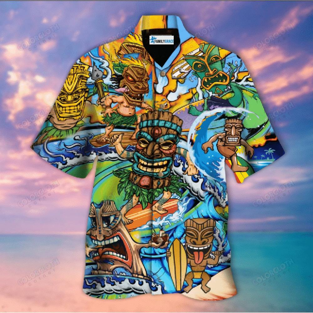 Aloha Tiki Surfing Into The Sunset Unisex Hawaiian Shirt HT060503