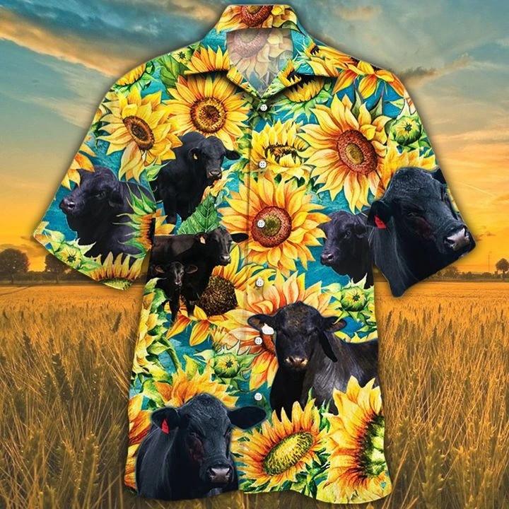 Men Brangus Cattle Hawaii Shirt Brangus Shirt Yellow Sunflower Hawaii Shirt CATTLE LOVERS HAWAIIAN SHIRT