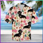 Colorful Dachshund Flower  ShortSlevee Hawaiian Aloha Shirt