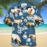 Men Charolais Cattle Hawaii Shirt White Charolais Cattle Lovers Blue Tribal Hawaiian Shirt Charolais Cattle Lovers HAWAIIAN SHIRT