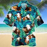 Simmental Cattle Hawaii Shirt Green SIMMENTAL CATTLE LOVERS HAWAIIAN SHIRT