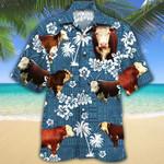 Men Hereford cattle Hawaii Shirt Blue Tribal HEREFORD CATTLE LOVERS Blue Tribal HAWAIIAN SHIRT HEREFORD CATTLE LOVERS HAWAIIAN SHIRT