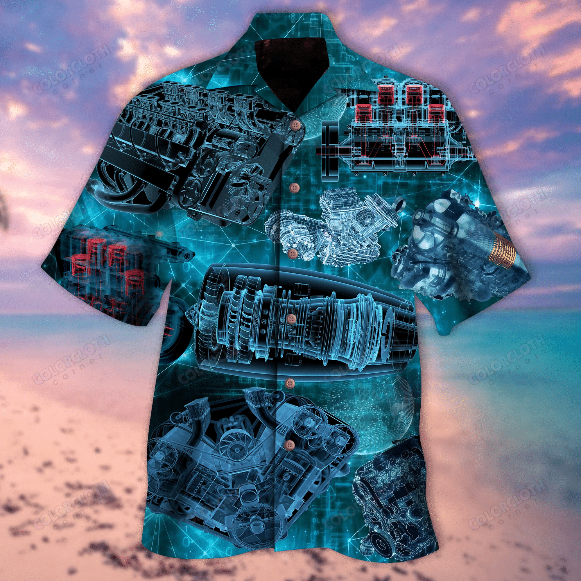 Amazing Blueprint Engines Unisex Hawaiian Shirt TY245128-RE