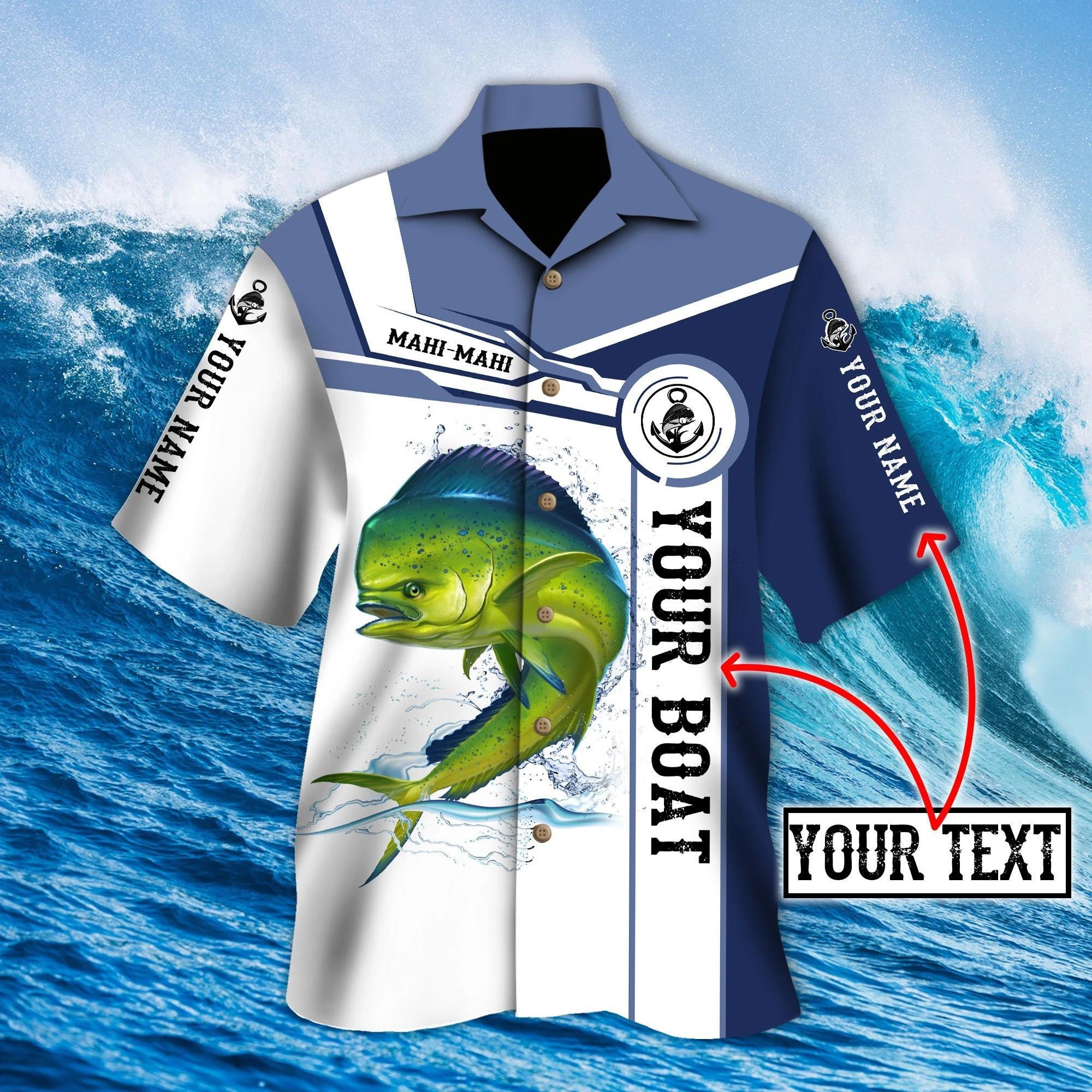 Custom name Mahi-mahi fishing Catch and Release 3D Design Fishing Hawaii Shirt