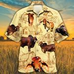 Red Brahman Cattle Lovers Farm Hawaiian Shirt