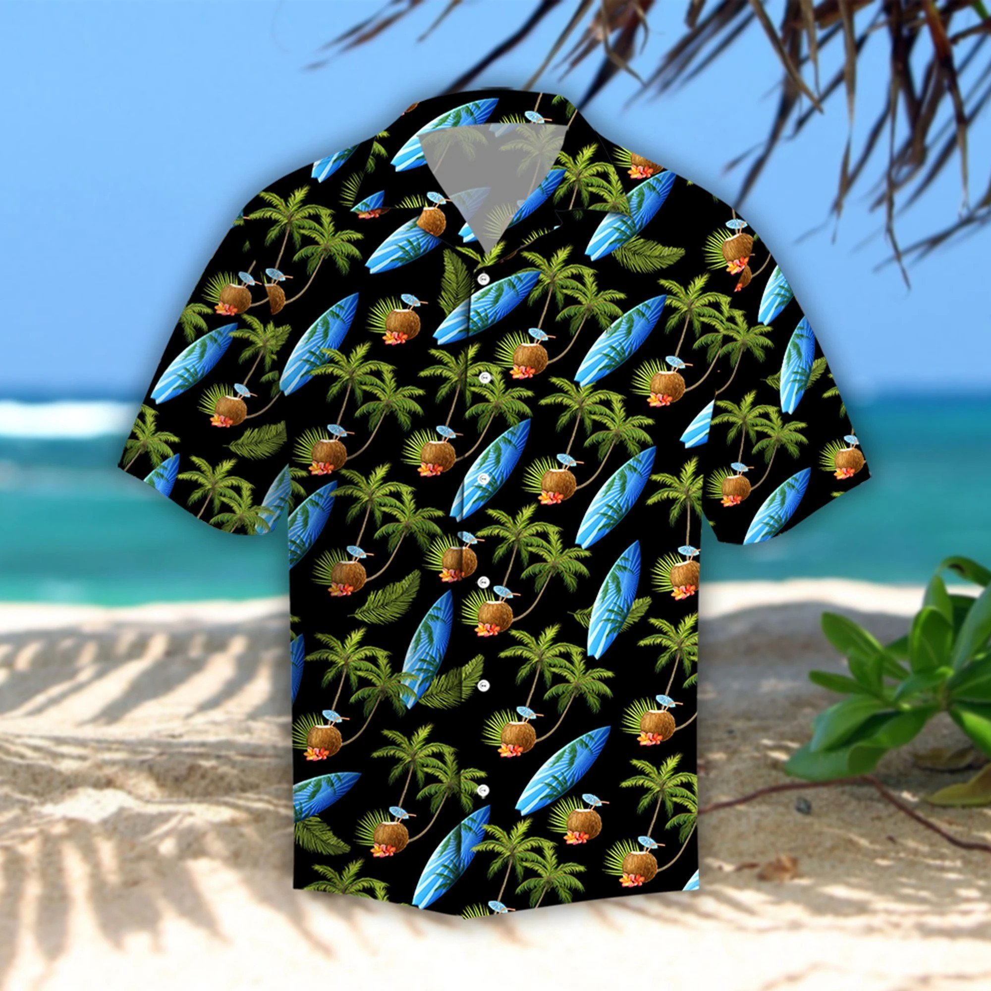 Coconut Island Hibiscus Tropical Fishing Hawaii Shirt
