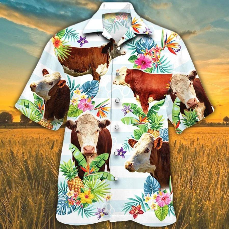 Men Hereford cattle Hawaii Shirt Hereford Cattle Lovers Tropical Flower HAWAIIAN SHIRT HEREFORD CATTLE LOVERS HAWAIIAN SHIRT
