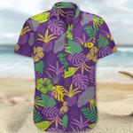 Purple Paradise Hawaii Shirt Plant Pattern Cotton Hawaiian Shirts Summer Gift
