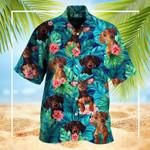 Dachshund Tropical Leaves Hawaiian Shirt