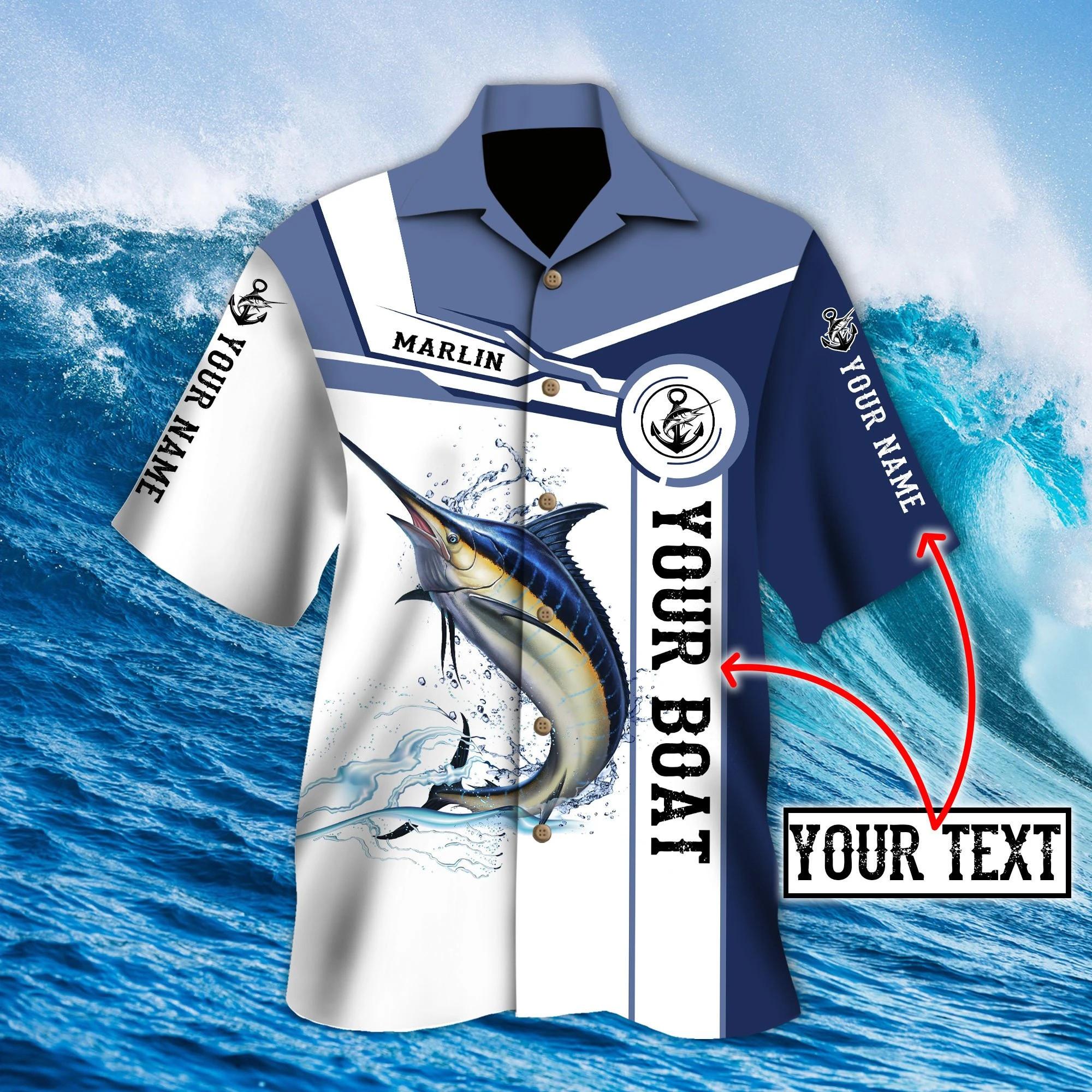 Custom name Marlin fishing Catch and Release 3D Design Fishing Hawaii Shirt