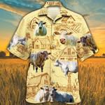 Men Charolais Cattle Hawaii Shirt Yellow Charolais Cattle Lovers Farm Hawaiian Shirt Charolais Cattle Lovers HAWAIIAN SHIRT