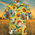 Men Charolais Cattle Hawaii Shirt Yellow Charolais Cattle Lovers Sunflower Watercolor Hawaiian Shirt Charolais Cattle Lovers HAWAIIAN SHIRT