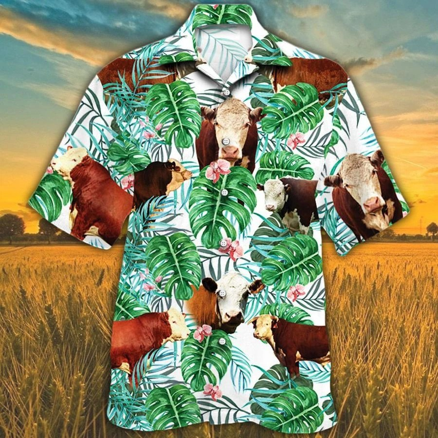 Men Hereford cattle Hawaii Shirt Hereford Cattle Lovers Tropical Plant HAWAIIAN SHIRT HEREFORD CATTLE LOVERS HAWAIIAN SHIRT