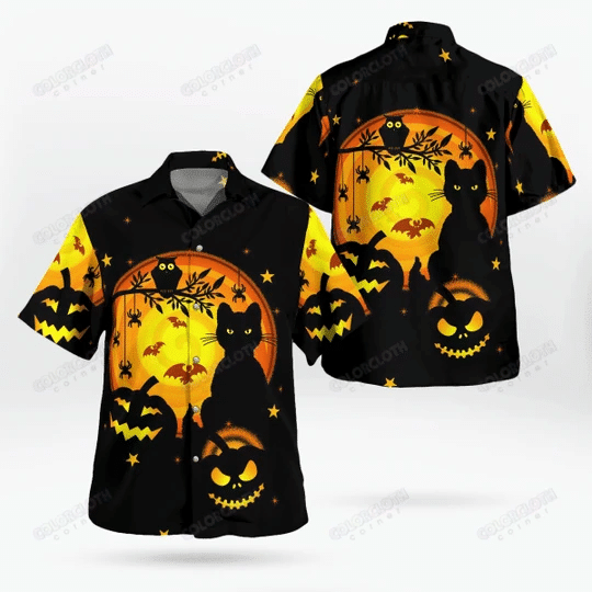 Awesome Black Cat And Pumpkin Happy Halloween Shirts TY307002