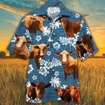 Beefmaster Cattle Lovers Blue Tribal Pattern Hawaiian Shirt