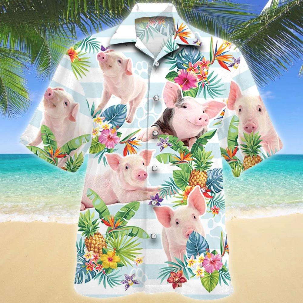 Pig Tropical Flower Hawaii Shirt
