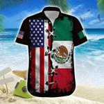 Hawaiian Aloha Shirts America-Mexico Eagle Flag