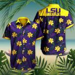 LSU Tigers Hibiscus Hawaiian Shirt Purple Hawaiian Shirt Football Lover Gift Ideas