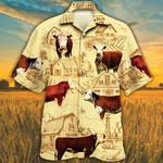 Men Hereford cattle Hawaii Shirt Yellow Hereford Cattle Lovers Farm HAWAIIAN SHIRT HEREFORD CATTLE LOVERS HAWAIIAN SHIRT