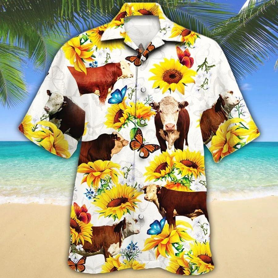 Men Hereford cattle Hawaii Shirt White HEREFORD CATTLE LOVERS SUN FLOWER HAWAIIAN SHIRT HEREFORD CATTLE LOVERS HAWAIIAN SHIRT