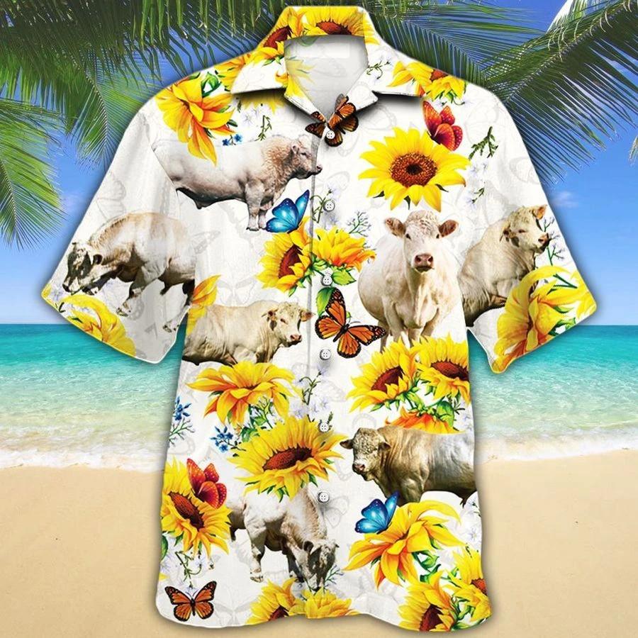 Men Charolais Cattle Hawaii Shirt White Charolais Cattle Lovers Sunflower Hawaiian Shirt Charolais Cattle Lovers HAWAIIAN SHIRT