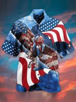 Eagle America Flag Hawaiian Shirt Patriot Hawaii Shirt t Patriotic Eagle Shirt Design