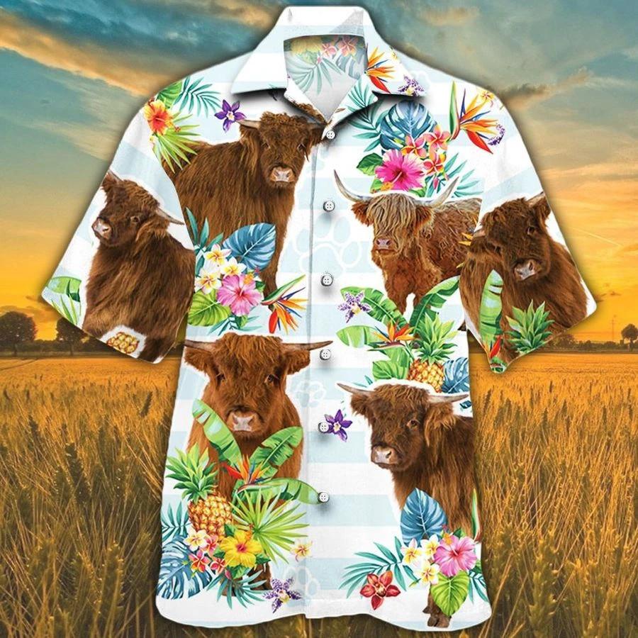 Men Highland cattle Hawaii Shirt Highland Cattle Lovers Tropical HAWAIIAN SHIRT Highland CATTLE LOVERS HAWAIIAN SHIRT