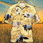Men Brahman Hawaii Shirt Brahman Cattle Shirt Yellow Cattle Lovers Farm Hawaiian Shirt