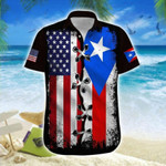 Hawaiian Aloha Shirts America-Puerto Rico Eagle Flag