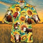 Men Hereford cattle Hawaii Shirt Yellow HEREFORD CATTLE LOVERS SUNFLOWER HAWAIIAN SHIRT HEREFORD CATTLE LOVERS HAWAIIAN SHIRT