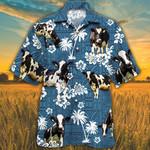 Holstein Friesian Cattle Lovers Blue Tribal Hawaiian Shirt