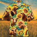 Beefmaster Cattle Lovers Sunflower Watercolor Hawaiian Shirt
