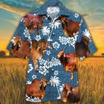 Red Brahman Cattle Lovers Blue Tribal Pattern Hawaiian Shirt