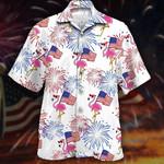 Flamingo and Flag Hawaiian Shirt