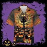 Awesome Black Cat Halloween Orange Black Unisex Hawaiian Shirts