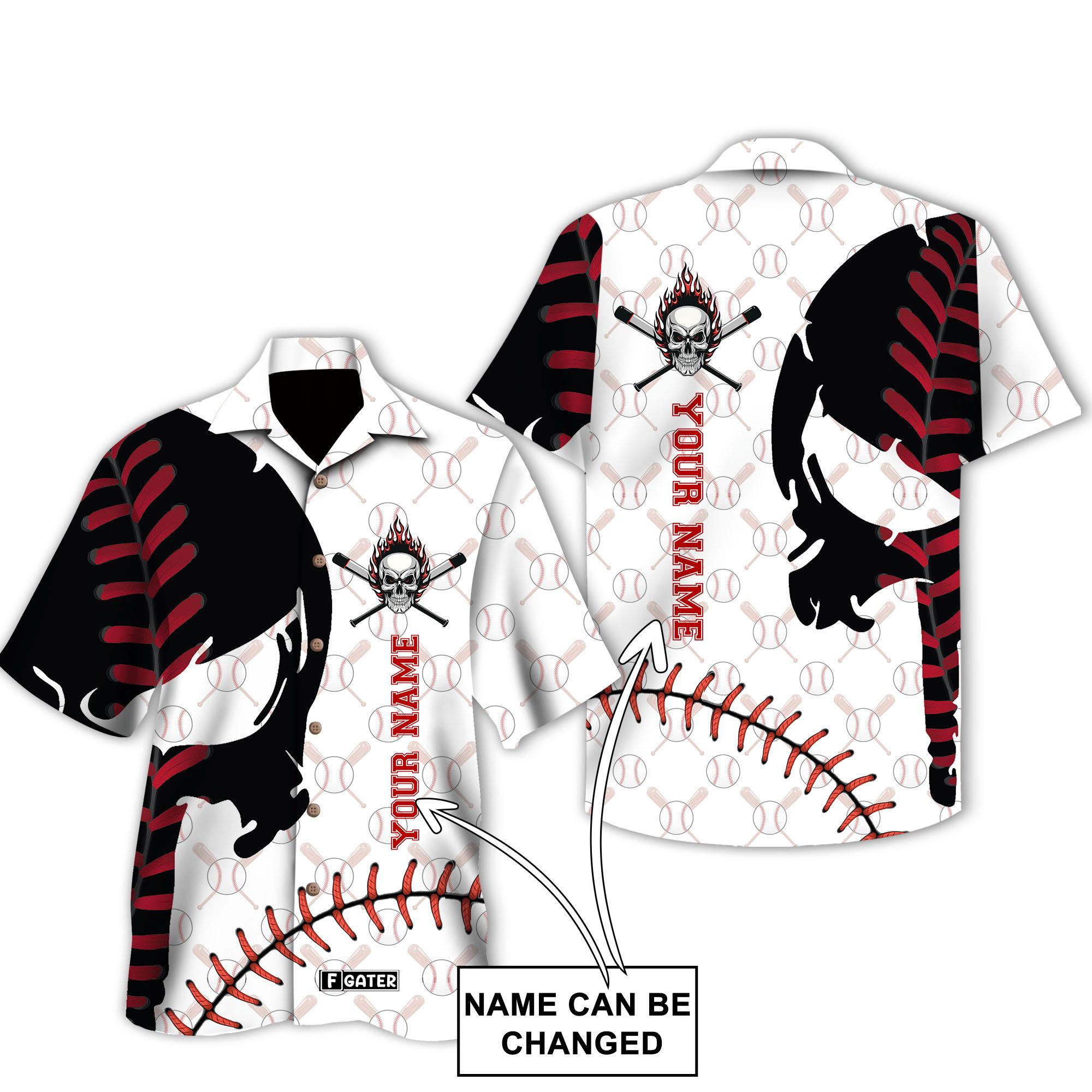 Baseball Custom Skull Hawaiian Shirt