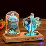 Personalized Crystal Love Windmill Photo Lamp