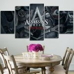 5 Panel Assassin's Creed Syndicate Logo Wall Art Canvas