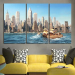 3 Panel Minions In The Boat Wall Art Canvas