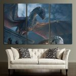 3 Panel Game Of Thrones Dragon Wall Art Canvas