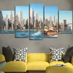 5 Panel Minions In The Boat Wall Art Canvas
