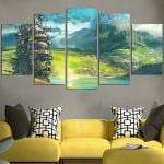 Howl's Moving Castle In The Lake Wall Art Canvas